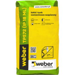 Light lime-cement plaster for indoors WEBER TP572, 25 kg
