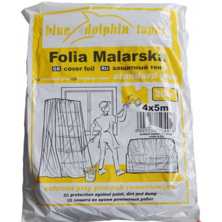 Folia malarska plandeka 4x5 m STANDARD PLUS żółte opakowanie