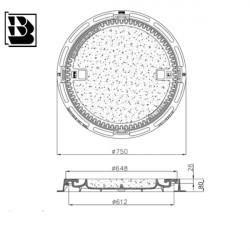 Manhole cover BO 600 bet H80 Hydrotop